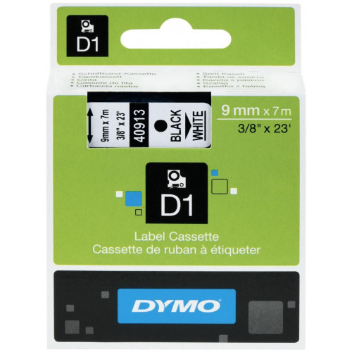 Dymo lint 9mmx7m must/valge