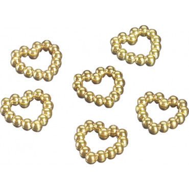 Plastjuveel pärlitest süda 1cm kuldne